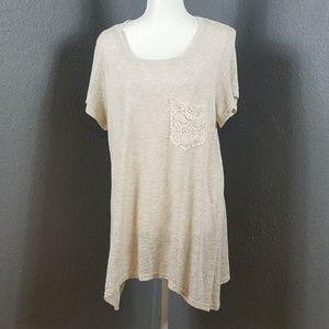 Bobeau Shirt 1X Tee Shirt Long Lace Pocket Light